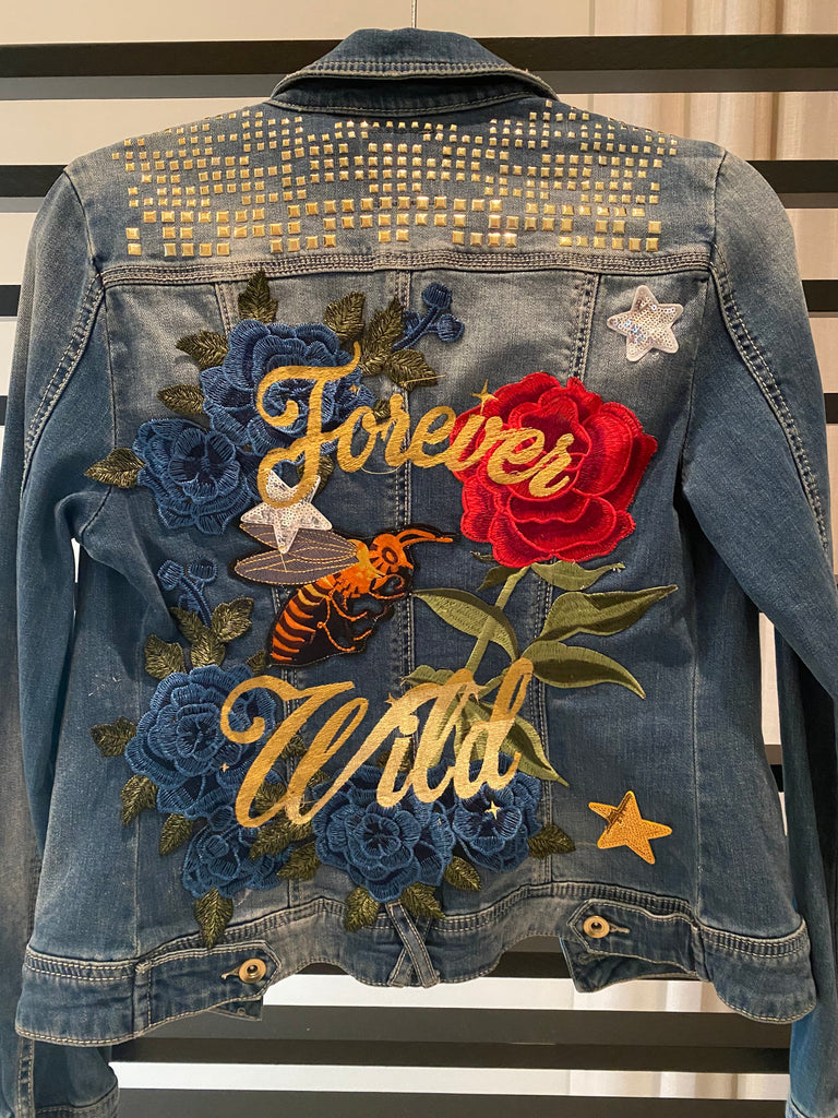 Forever Wild Denim Jacket with Studs. Floral embroidery and patches. SOLD Statement Jacket.  Custom Jacket.  Personalized Jacket.