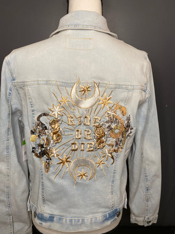 Ride Or Die with Snake and floral Embroidery. Blue Denim Denim Jacket. Wedding Jacket. Bride Coat.  White / Gold / Black thread
