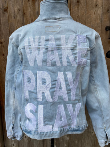 Wake Pray Slay. Blue Denim Jacket. Custom Embroidered Denim