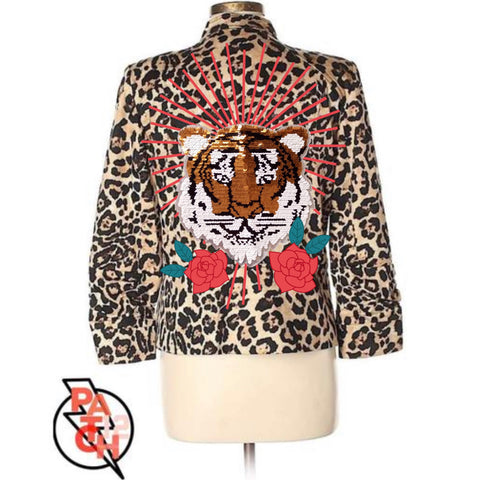 Yas Queen. Cheetah Print Jacket with Sequin Tiger Patch embroidered florals and celestial starburst -  Women's L (size 12)