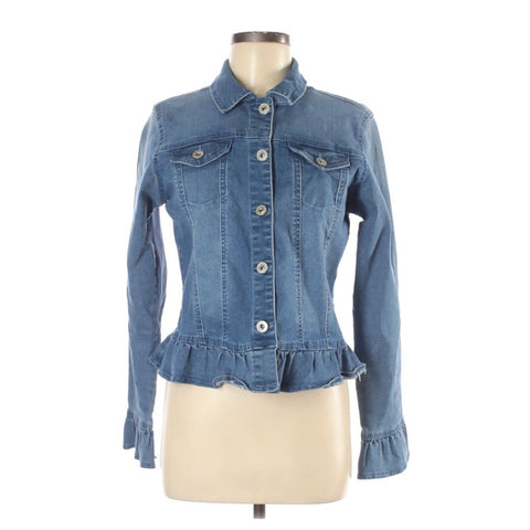 Ruffled Edge Denim Jacket.  Light Blue Denim Jacket.  Women's Size M.  Ready for embroidery and patches. C