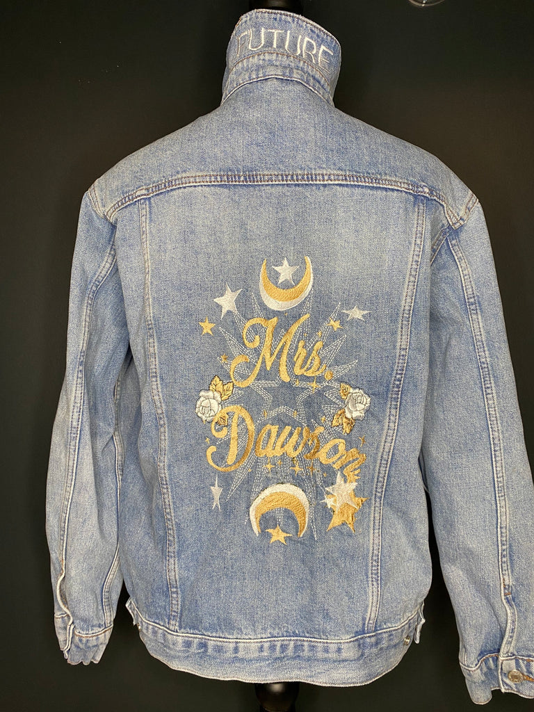 Mrs. Jean Jacket- Custom with Your Name. Embroidered Denim Jacket multiple sizes Wedding Jacket. Bride Coat. Available in Blue/ Black Denim