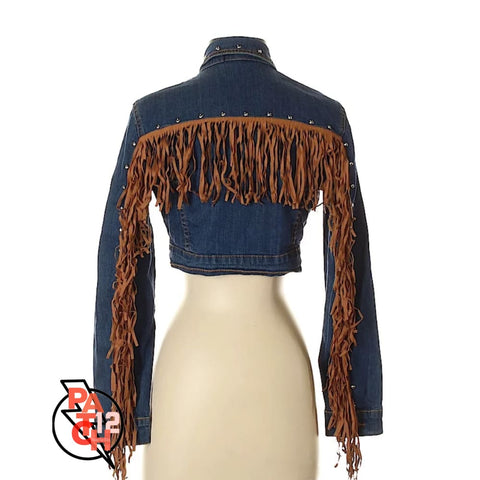 IM A FRAYED YOURE A STUD. Cropped Denim Jacket with Fringe- Womens Small - Jacket