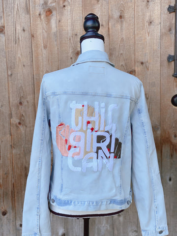 This Girl Can.  Women's Movement Light Blue Denim jacket.