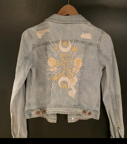 Til Death Do Us Part.  Distressed Blue Denim Jacket.  M.  Add date under collar