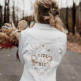 Ride or Die. White Denim Jacket.  White/ Gold/ champagne a thread. Wedding Jacket. Bride Coat.