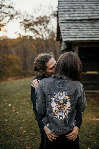 Til Death Do Us Part. Black Denim Custom Embroidered Denim Jacket.   White/Gold Thread