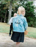 Flower Girl Denim Jacket with Daisy Chain .  Custom embroidered denim jacket. Wedding Jacket.  Personalized Bride Jean Jacket