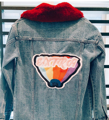 Extra Embroidered Denim Jacket With Red Fur Collar. SOLD