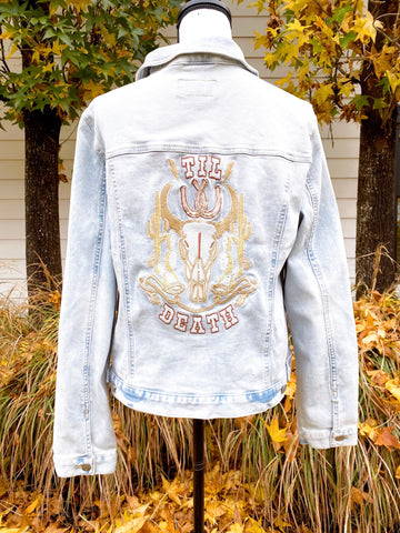 Proverbs 31:10 - Western. Blue Denim Jacket. multiple sizes.   Wedding Jacket. Bride Coat. Ivory/Gold/Champagne/Copper Threads.