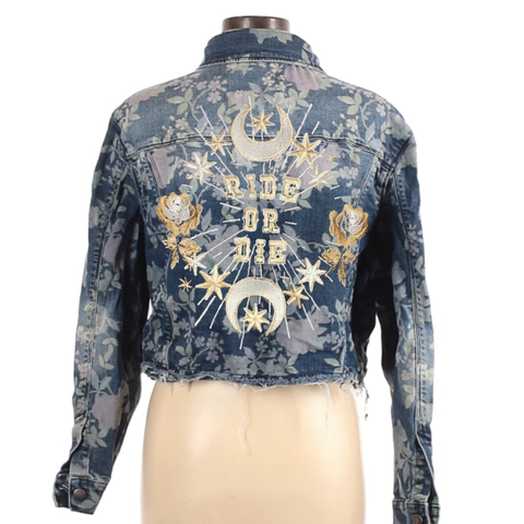 Ride Or Die Floral Wedding Jacket. Womens Large Bride Coat. Bachelorette Jacket