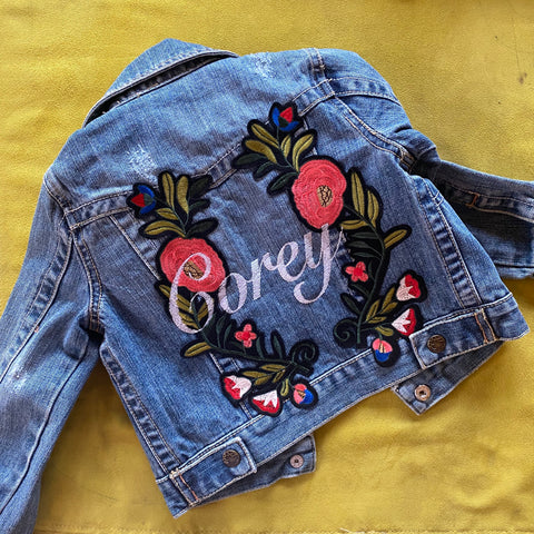 Personalized Floral Denim Jacket- Girls custom jean jacket with Pom poms. Embroidered girls denim.  Custom girls jacket