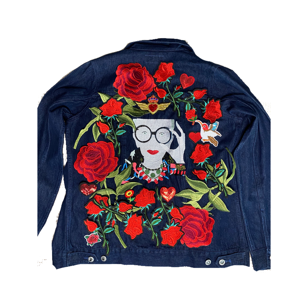Iris Apfel Embroidered Denim Jacket.  Custom Embroidery. Iris Jean Jacket