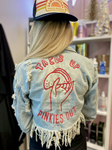 Tacos Up.  Pinkies Out.  Cropped distressed Embroidered Denim Jacket. Multiple sizes