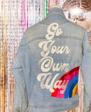 Go Your Own Way.  Embroidered rainbow denim jacket- distressed