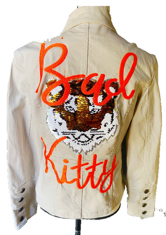 Bad Kitty.   Embroidered Tan Canvas Jacket with Sequin Tiger Patch