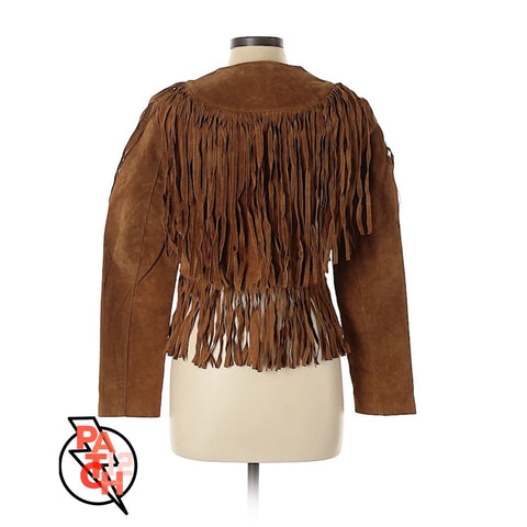 Layered Suede Fringed Jacket -Womens Large - Jacket