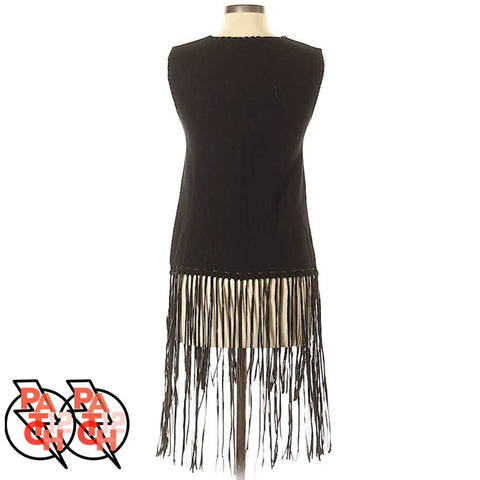 LONG AND LEAN. Black Fringe Sweater Blouse-S - Clothing