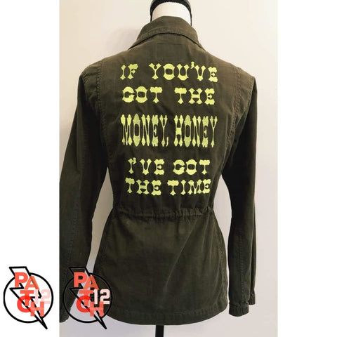 Money Honey Utility Jacket- Womens Medium. Willie Nelson tribute. If youve got the money honey - Ive got the time. Custom embroidered -
