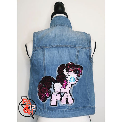 My Little Pony Sequin Gap Light Blue Denim Vest- Girls XL - Vest- Kids