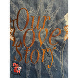 Our Love Story. Custom denim jacket. popped collar embroidery. Wedding Jacket. Bride Coat. Date monogrammed under collar pop. Copper Embr -