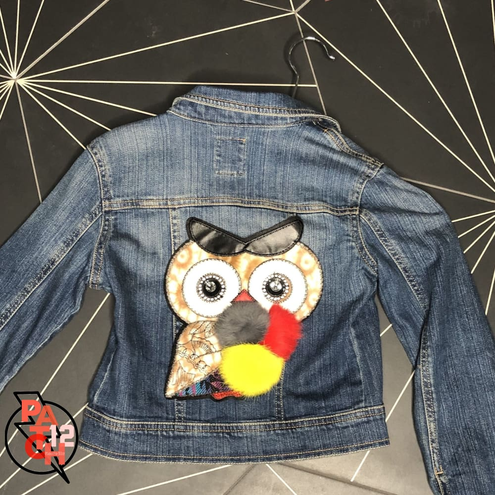 Owly- Denim Jacket- Girls M. Fuzzy Owl Patch Jacket - Clothing
