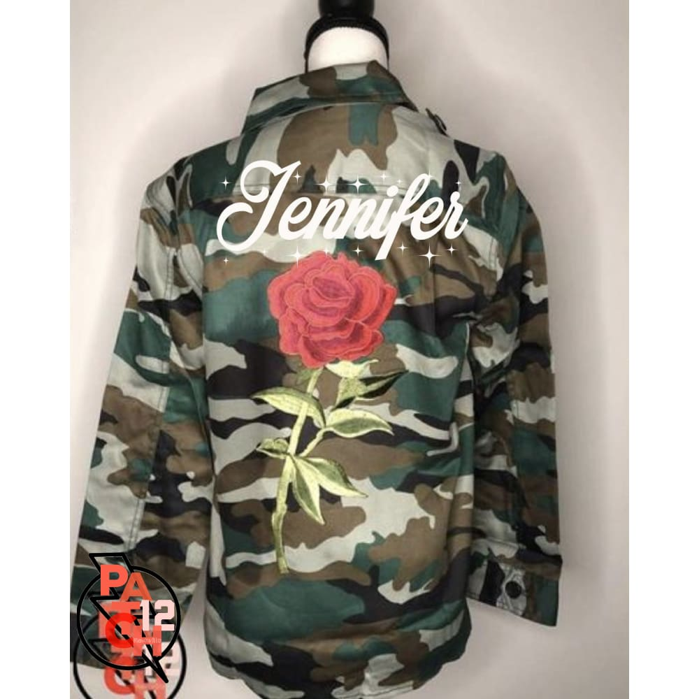 Personalized Camo Utility Jacket. Embellished Jacket. Floral Army Jacket. Monogrammed Wedding Jacket. Embroidered Wedding Coat. Patch Jacket