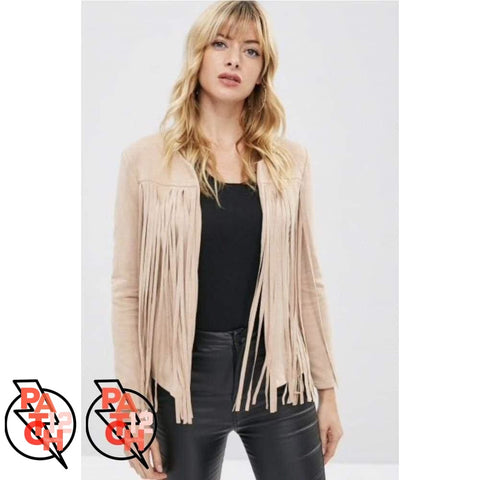 Playful Fringe. Faux Suede Fringe Jacket- Womens - Clothing