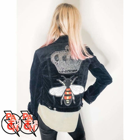 QUEEN BEE Black Velvet Jacket. Patch Jacket. Statement Jacket. Custom Jacket. Personalized Jacket. - Clothing