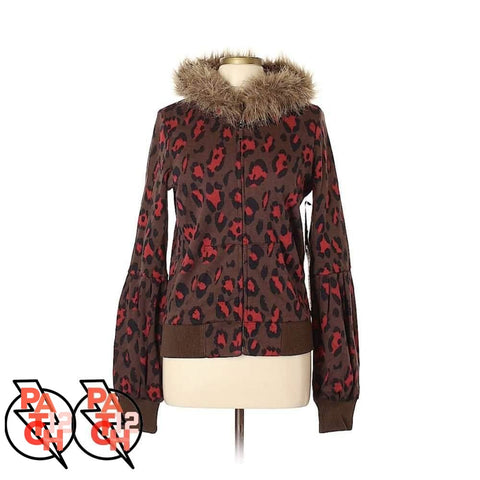 Red Animal Print Jacket- Faux Fur Collar Womens L. Leopard Print Sweater. Leopard Print Jacket. - Clothing