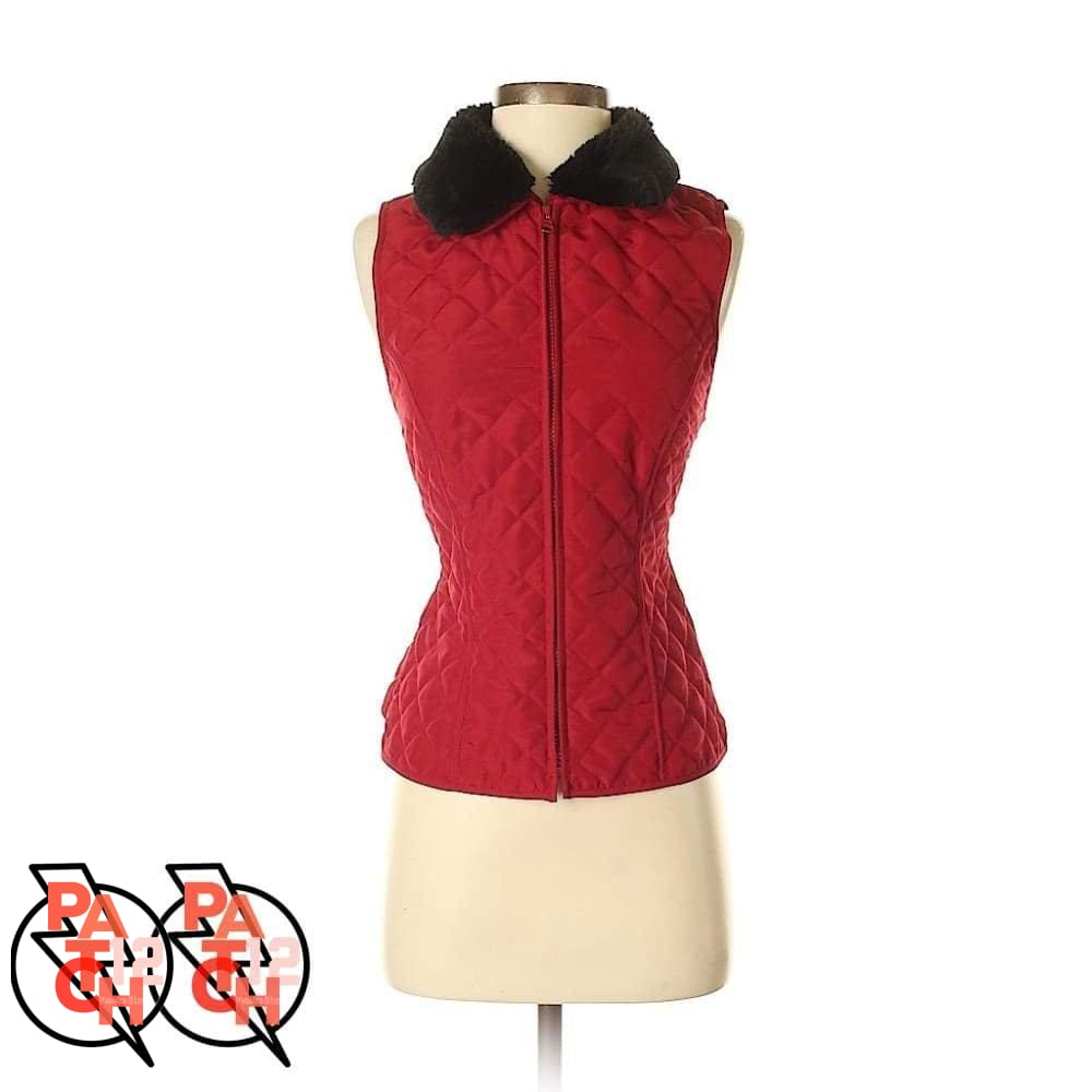 Red Puffer Vest with Fur Collar- Womens S. Black Faux Fur Collar. - Clothing