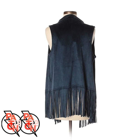 She Say Sway. Navy Vest With Fringe Womens Xs - Clothing