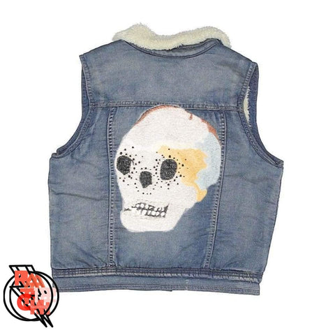 Skelly Blues. Skull Embroidered Light Blue Denim Vest with Sherpa Collar- Girls XL or Womens XS. Custom Embroidered Jean Vest. Monogrammed -
