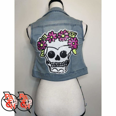 Skelly Frida- Light Blue Denim Vest- Girls XL. Sequined Skull Patch. Patch Jacket. Sequined Jacket for Girls. Sparkly Jacket. Statement -