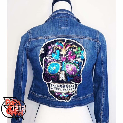 Skully Skelly Sequins. Denim Jacket- Girls S (6-7) - Clothing