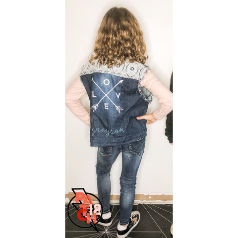 THE GREYSON. Lace Denim Vest- Girls M. SOLD - Sold- Kids