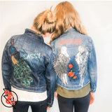 THE SASSY. Custom Girls Denim Jacket with sequined peacock and monogrammed name on back. Customizable Girls Jean Jacket - Clothing