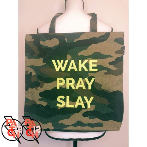 WAKE PRAY SLAY. Camo Tote. Camouflage Tote. Embroidered Tote. Custom Totebag. Personalized Tote. Canvas Tote - Bags & Purses