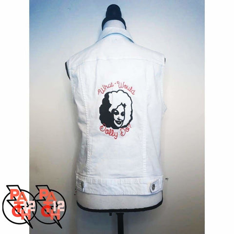 What Would Dolly Do. White Denim Vest- Womens Medium - Clothing
