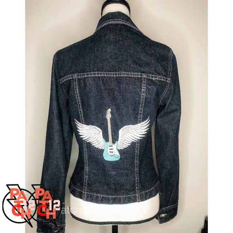 Winged Guitar Dark Denim Jacket- Womens L. Embroidered Denim. Custom Denim. Personalized Jean Jacket. - Clothing