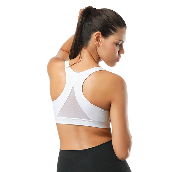 Back Mesh Triangle Push Up Sports Bra