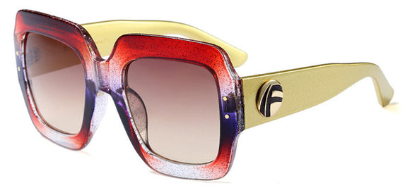 Colorful Pearl Effect Square Sunglasses