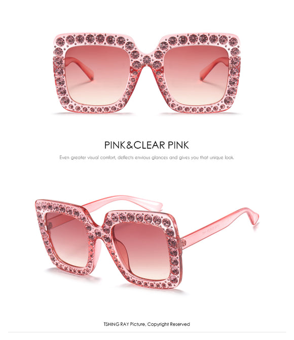 Rhinestone Inlay Oversized Square Sunglasses