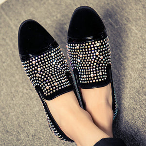Crystal Fashion Leather Luxury Loafers