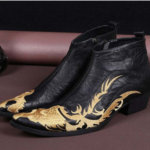 Genuine Leather Pointed Toe High Heel Martin Boot