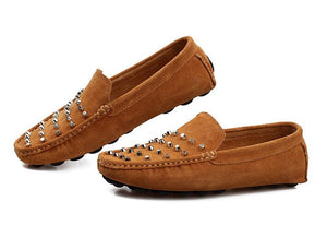 Split Leather Square Toe Loafers