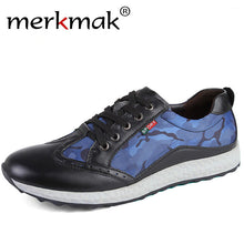 Merkmak Luxury Brand New 2017 Men Casual Shoes Genuine Leather Canvas Patchwork Fashion Mens Shoes Designer Camo Shoes For Men
