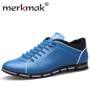 Merkmak New Mens Summer Casual Shoes Breathable Holes Leather Shoes Luxury Brand Men Leisure Treandy Flats Shoes 2017 Hot Sale