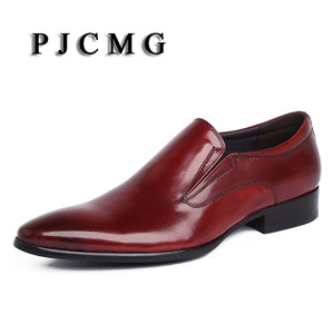 PJCMG New Spring/Autumn Luxury Handmade Genuine Leather High Heels Dress Oxford Flat Original Brand Men Oxford Shoes