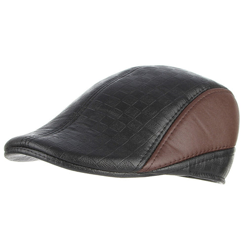 Black Brown Faux Leather Beret